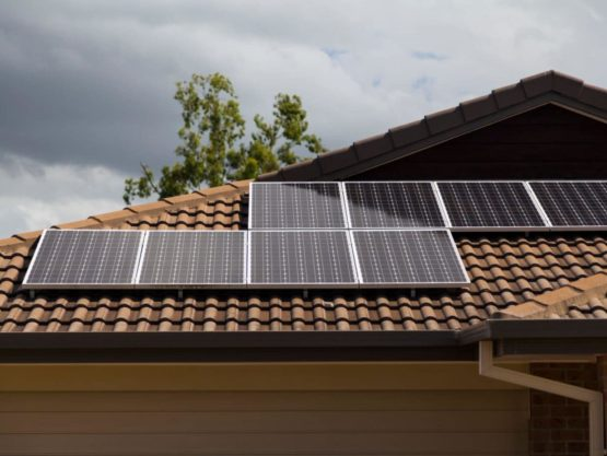 Solar Panels on a renovated brown tiled roof of a Sydney home